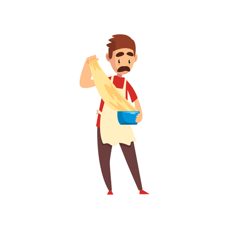 Chef kneading and cooking a dough, pizza maker character, stage of preparing Italian pizza vector Illustration isolated on a white background.