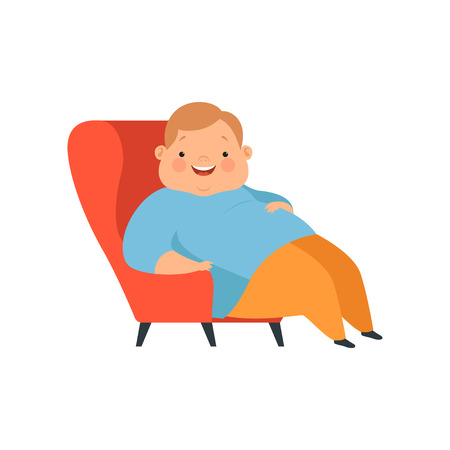 Overweight boy sitting in the chair, cute chubby child cartoon character vector Illustration isolated on a white background. Illustration