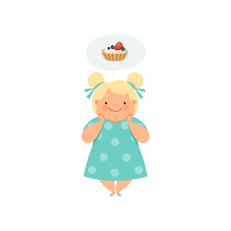 Overweight blonde girl dreaming of cupcake, cute chubby child cartoon character vector Illustration isolated on a white background. Çizim