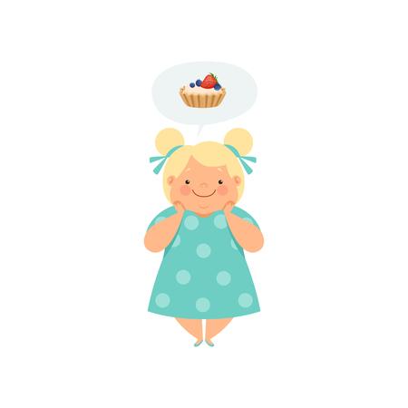 Ragazza bionda in sovrappeso che sogna di cupcake, carino bambino paffuto personaggio dei cartoni animati vettoriale illustrazione isolato su sfondo bianco. Vettoriali