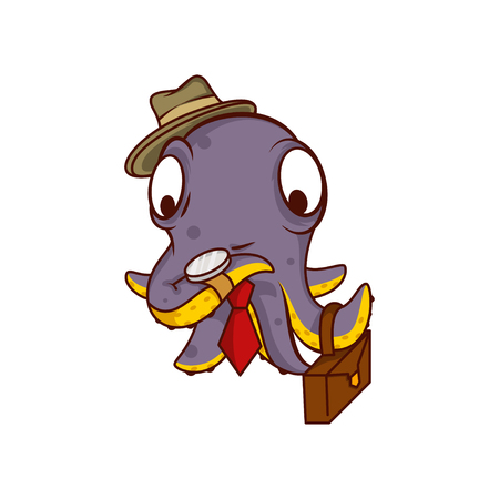 Purple octopus businessman holding brown suitcase and watching on clock. Humanized sea creature in hat and tie. Funny cartoon character. Colorful vector illustration isolated on white background.