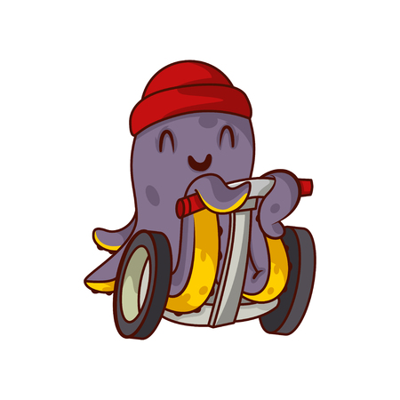 Happy purple octopus riding on self-balancing scooter. Humanized marine animal in red hat. Adorable cartoon character. Graphic element for mobile game. Vector illustration isolated on white background