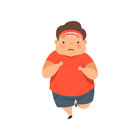 Overweight sweaty boy running, cute chubby child cartoon character vector Illustration isolated on a white background.