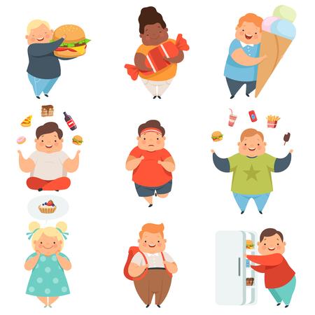 Set di ragazzi e ragazze in sovrappeso, personaggi dei cartoni animati di bambini paffuti svegli con il vettore di fast food illustrazione isolato su sfondo bianco.