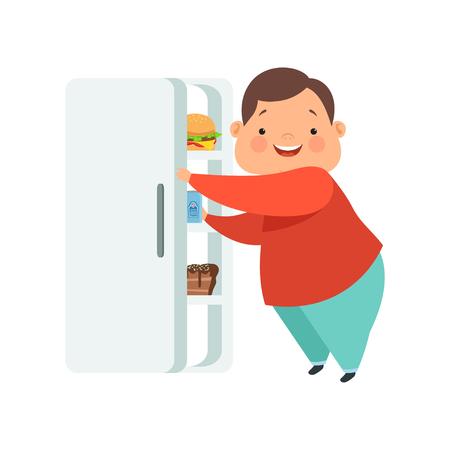 Ragazzo in sovrappeso che apre il frigorifero con cibo spazzatura, simpatico bambino paffuto personaggio dei cartoni animati vettoriale illustrazione isolato su sfondo bianco. Vettoriali