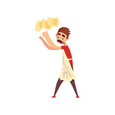 Chef tossing dough in the air, pizza maker character, stage of preparing Italian pizza vector Illustration isolated on a white background.