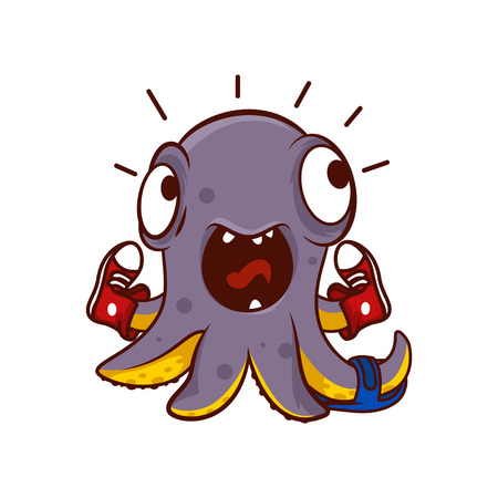 Funny screaming octopus with pair of sneakers and one slipper on tentacles. Emotional cartoon character. Humanized marine animal. Sea creature. Colorful vector design isolated on white background.