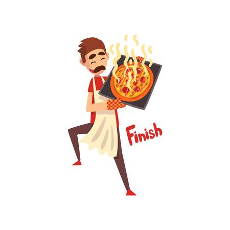 Chef sosteniendo una bandeja con pizza caliente recién cocinada, personaje de pizzero, etapa de preparación de vector de pizza italiana ilustración aislada sobre fondo blanco.
