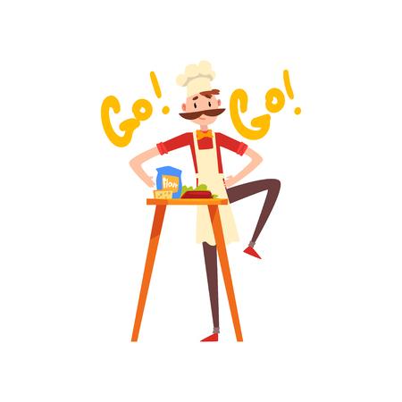 Chef masculino amasando la masa, personaje de pizzero, etapa de preparación de vector de pizza italiana ilustración aislada sobre fondo blanco. Ilustración de vector