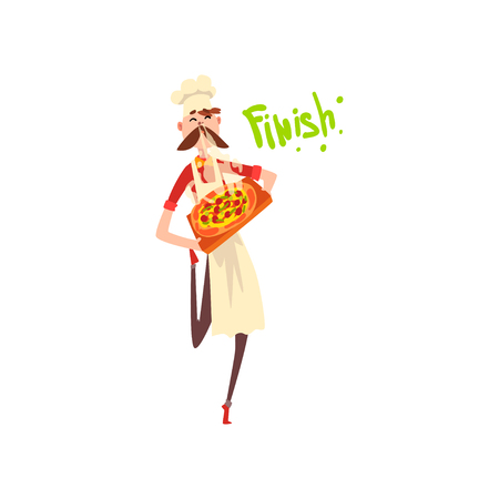 Pizza maker character with a tray with freshly cooked hot pizza, stage of preparing Italian pizza vector Illustration isolated on a white background.