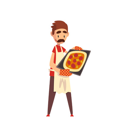 Male pizza maker character cooking pizza, stage of preparing Italian pizza vector Illustration isolated on a white background.