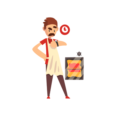 Pizza maker character making pizza, stage of preparing Italian pizza vector Illustration isolated on a white background. Illustration