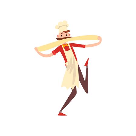 Chef masculino amasando una masa, personaje de pizzero preparando vector de pizza italiana ilustración aislada sobre fondo blanco.