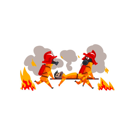 Firefighters in masks carrying the injured on stretchers, firemen characters in uniform at work vector Illustration on a white background Vectores