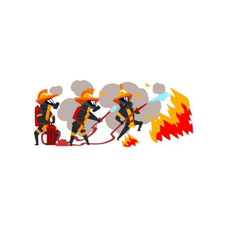 Firemen spraying water on fire, firefighter characters in uniform and mask at work vector Illustration on a white background