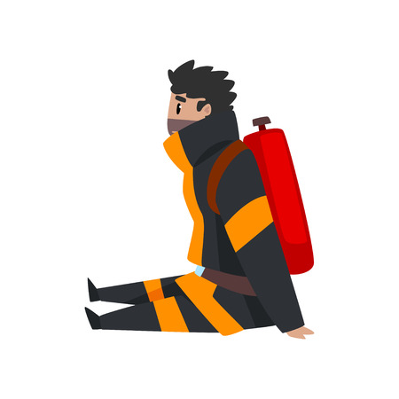 Tired fireman sitting on the floor, firefighter character in uniform at work vector Illustration on a white background Vectores