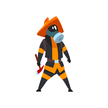 Fireman in a protective mask standing with axe, firefighter character in uniform vector Illustration on a white background