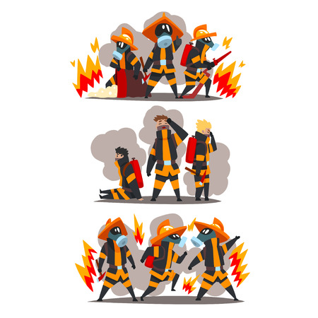 Firefighters with firefighting equipment, firemen characters in uniform and protective masks at work vector Illustration isolated on a white background. Stock Illustratie