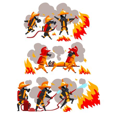 Feuerwehrleute, die Feuer löschen und Menschen helfen, Feuerwehrleute in Uniform und Schutzmasken bei der Arbeit Vektor-Illustration auf weißem Hintergrund