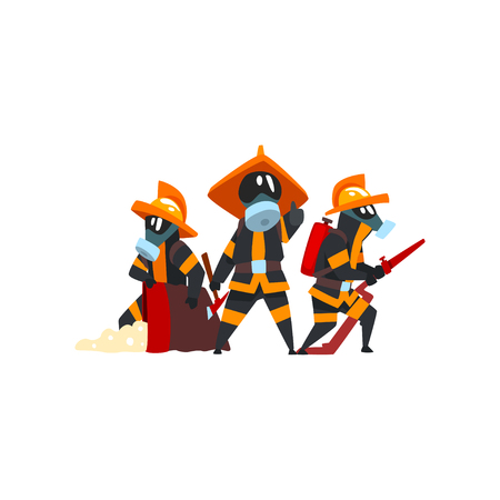 Firefighters with firefighting equipment, firemen characters in uniform at work vector Illustration on a white background