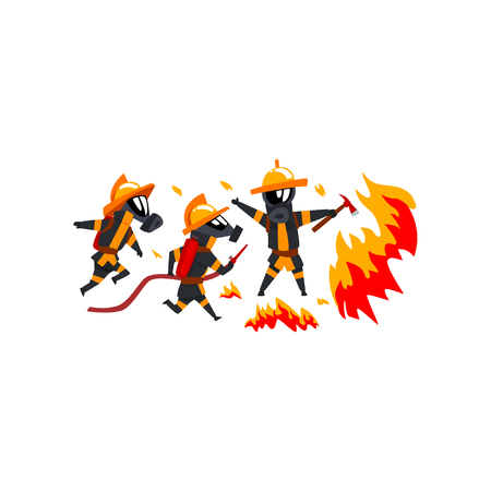 Firemen spraying water on fire, firefighter characters in uniform vector Illustration on a white background