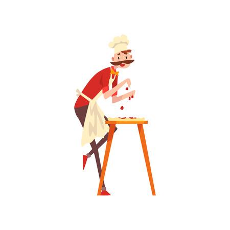 Carácter de chef masculino haciendo pizza, etapa de preparación de vector de pizza italiana ilustración aislada sobre fondo blanco.