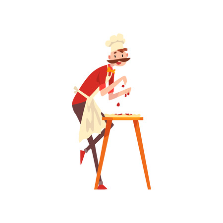 Male chef character making pizza, stage of preparing Italian pizza vector Illustration isolated on a white background.