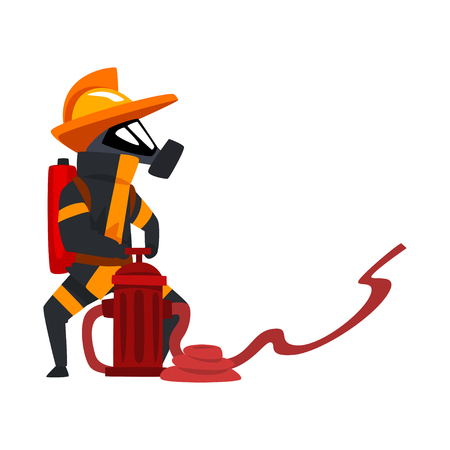 Fireman in a protective mask spraying water using hydrant, firefighter character in uniform vector Illustration on a white background Illustration