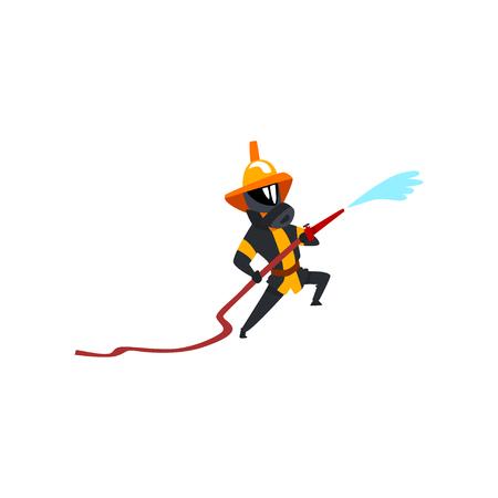 Bombero rociando agua con manguera, personaje de bombero en uniforme y máscara en el vector de trabajo ilustración sobre un fondo blanco Ilustración de vector