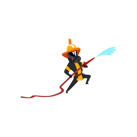 Fireman spraying water using hose, firefighter character in uniform and mask at work vector Illustration on a white background