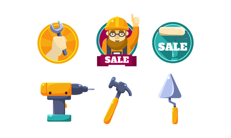 Hand tools for carpentry and home renovation, tools shop design elements vector Illustration isolated on a white background. Vector Illustration