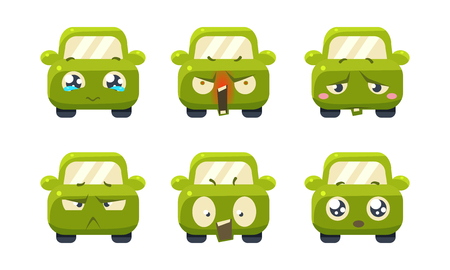 Collection of cute green car cartoon characters showing different emotions, car emoticons vector Illustration isolated on a white background. Ilustração