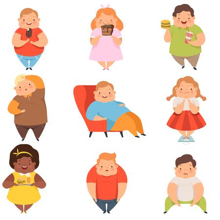 Übergewichtige Jungen und Mädchen eingestellt, niedliche mollige Kinderzeichentrickfiguren, die Fastfood-Vektorillustration lokalisiert auf einem weißen Hintergrund essen