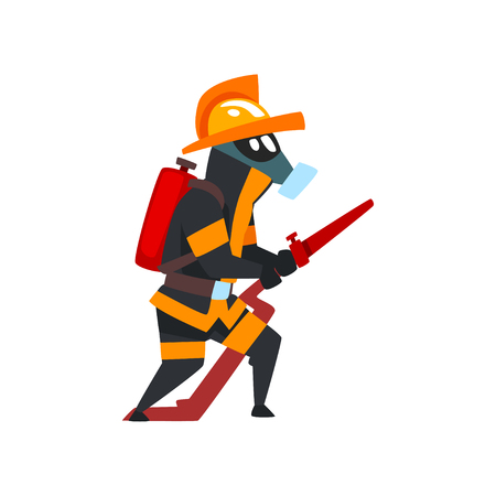 Fireman in a protective mask with fire hose, firefighter character in uniform vector Illustration on a white background