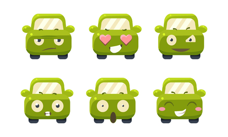 Car emoticons set, cute green car cartoon characters showing different emotions vector Illustration isolated on a white background. Illustration