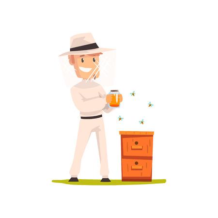 Homme apiculteur avec un pot de miel, vecteur de concept apiculture et apiculture Illustration isolé sur fond blanc. Vecteurs
