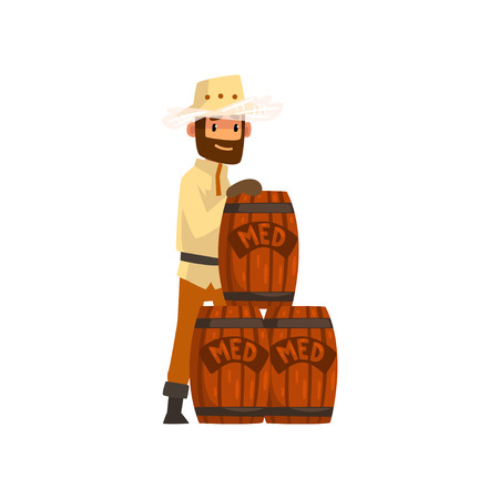 Beekeeper man with wooden barrels of honey, apiculture and beekeeping concept vector Illustration isolated on a white background.