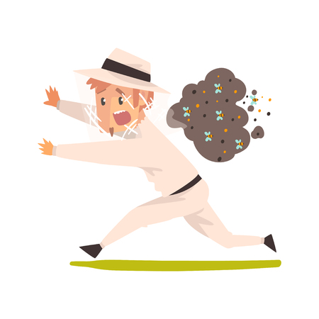 Scared beekeeper running away from swarm of bees, apiculture and beekeeping concept vector Illustration isolated on a white background.