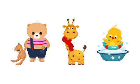 Cute funny animals characters in different actions, bear with a teddy bear, giraffe in a red scarf, duckling bathing in the basin vector Illustration isolated on a white background. Stock Illustratie