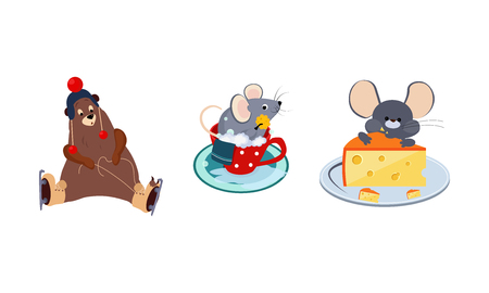 Cute funny animals characters in different actions, bear skating, mouse bathing in the cup, mouse eating a big piece of cheese vector Illustration isolated on a white background.