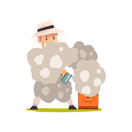 Beekeeper man with smoker smoking hive, apiculture and beekeeping concept vector Illustration isolated on a white background. Stock Illustratie