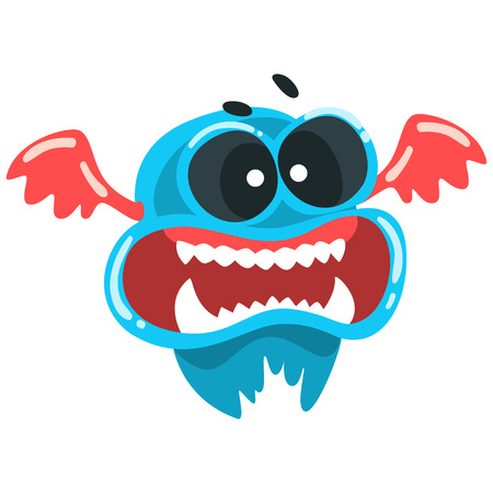 Funny toothy monster, colorful fabulous blue creature cartoon character vector Illustration isolated on a white background.