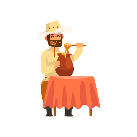 Beekeeper man eating honey, apiculture and beekeeping concept vector Illustration isolated on a white background. Vecteurs