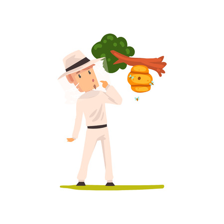 Beekeeper man looking at the hive hanging on a tree branch, apiculture and beekeeping concept vector Illustration isolated on a white background. Vector Illustration