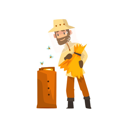 Cheerful beekeeper man hiver harvesting honey, apiculture and beekeeping concept vector Illustration isolated on a white background.