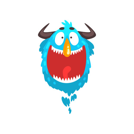 Funny horned monster, colorful fabulous cartoon creature character vector Illustration isolated on a white background.
