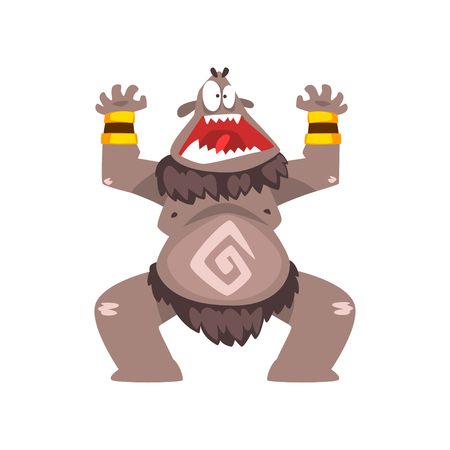 Funny cartoon bigfoot monster, colorful fabulous creature character vector Illustration isolated on a white background.