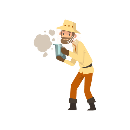 Beekeeper man with smoker, apiculture and beekeeping concept vector Illustration isolated on a white background.