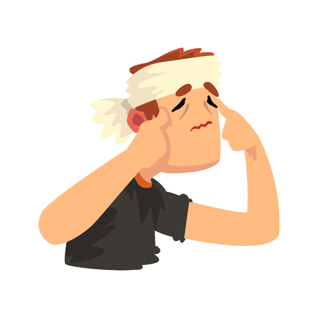 Man with a bandaged head with a headache, disease of the head, migraine, sick unhappy man character vector Illustration isolated on a white background.