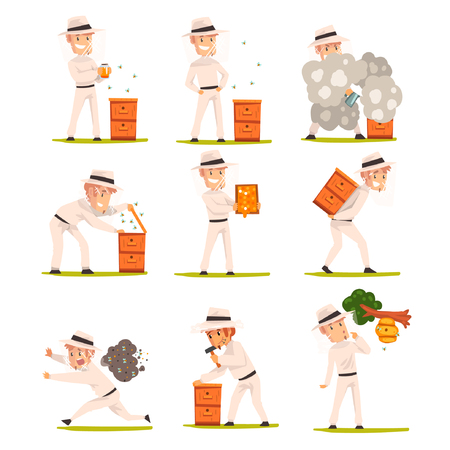 Cheerful beekeeper at work, apiarist man harvesting, selling honey, caring for bees, apiculture and beekeeping concept vector Illustration isolated on a white background.